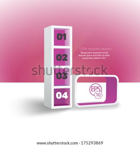 Colorful infochart, simple menu illustration - in minimal interior furniture design style Pink - magenta edition  - stock vector
