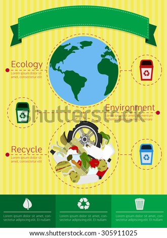 Colorful infographic about recycling. Information on the waste produced on the earth. - stock vector