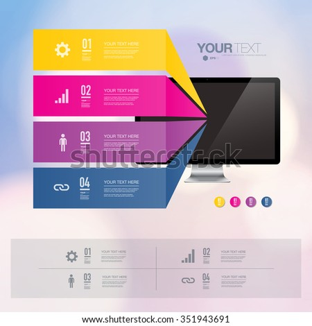 Colorful infographic design with realistic 3d computer with light bokeh wallpaper  can be used for workflow layout, diagram, chart, number options, web design.  Eps 10 stock vector illustration  - stock vector