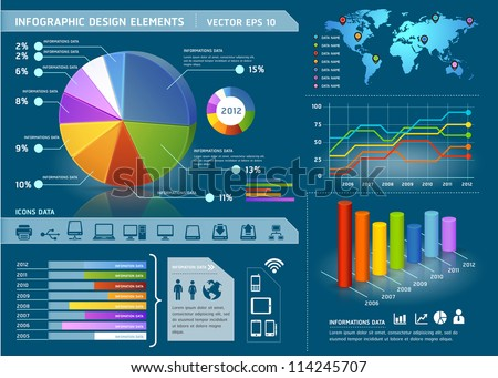 Colorful infographic elements with global map and information graphic. Vector illustration