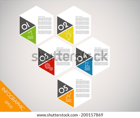 colorful infographic hexagonal template. infographic concept.