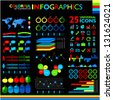 Colorful infographic set on black background and 25 universal icons - stock photo