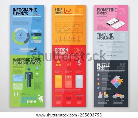 Colorful infographics in well arranged templates ready for use. Vector graphic and elements to create your own graphics for web design, fllyer, corporate brochure etc. - stock vector