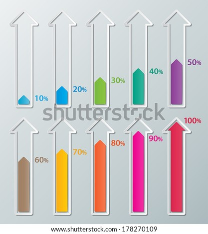 colorful  infographics paper arrows with 10-100 percentage. vector.