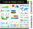 Colorful infographics set and 15 universal icons - stock vector