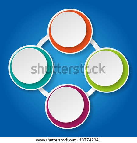 Colorful inforgraphic paper lifecycle on the blue background. - stock vector