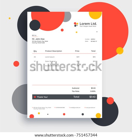 Colorful Invoice Template Design Your Business Stock Vector - Invoice template design