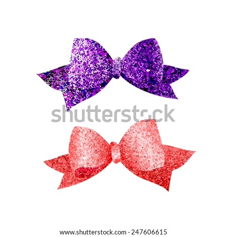Colorful isolated shiny bows. Purple and red textured tied ribbons. Glitter vector elements. - stock vector