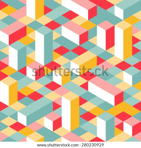 Colorful Isometric Seamless Pattern. Random Puzzle Vector Background. Geometric Graphic Pixel Lego Blocks. - stock vector