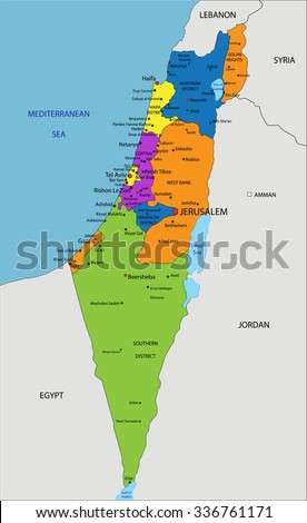 Colorful Israel Political Map Clearly Labeled Stock Vector 336761171