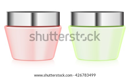 colorful jars with cream - stock vector