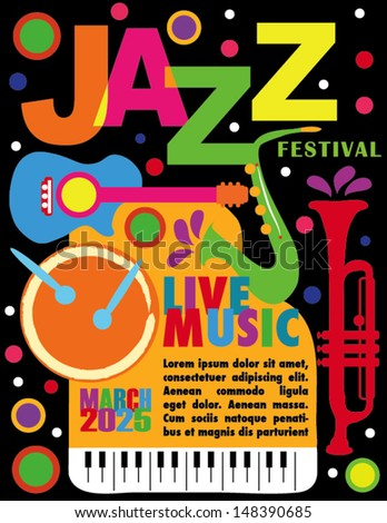 Colorful Jazz Festival Poster with Black Background - stock vector