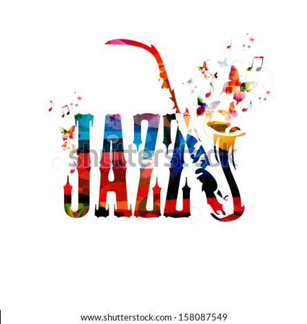 Colorful jazz vector background with saxophone. - stock vector