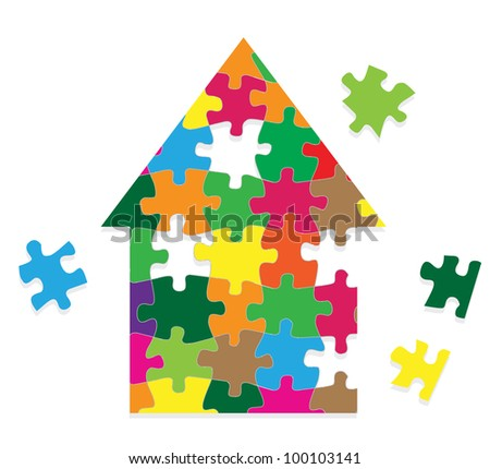 Colorful jigsaw puzzle house vector background - stock vector