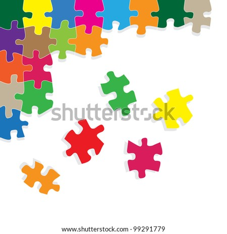 Colorful jigsaw puzzle vector with dark background - stock vector