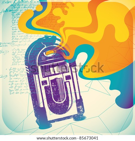 Colorful jukebox illustration. Vector illustration. - stock vector