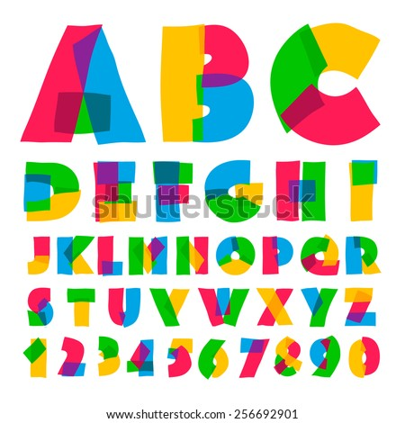 Colorful kids alphabet and numbers, vector illustration.  - stock vector
