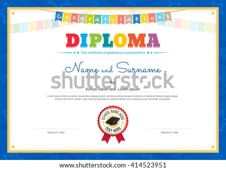 Colorful Kids Diploma Certificate Template Children Stock Vector