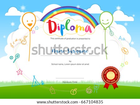 Colorful kids summer camp diploma certificate stock vector colorful kids summer camp diploma certificate template in cartoon style with smiling balloon rainbow and sky yadclub Choice Image