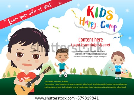 Colorful Kids Summer Camp Poster Or Banner Template In Cartoon Style With Various Children Activities Music