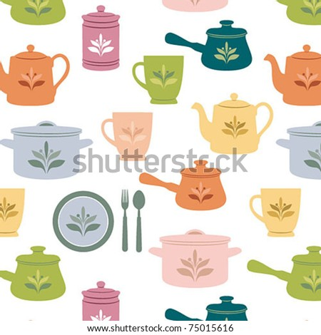 Colorful kitchen seamless pattern