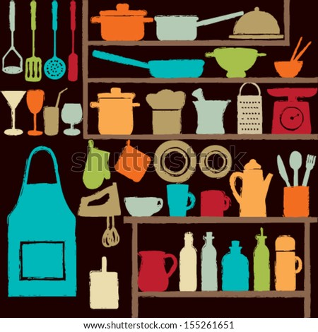 Colorful kitchen silhouette icons