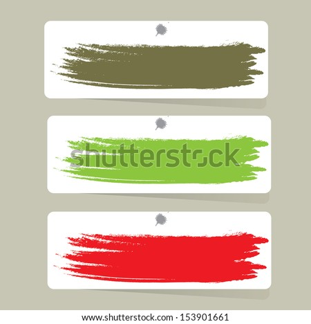 Colorful label paper brush stroke - stock vector