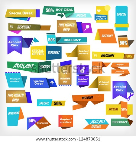 colorful label set - stock vector