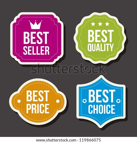 colorful labels over gray background. vector illustration - stock vector