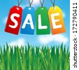 colorful labels sales on background blue sky and green grass.vector - stock