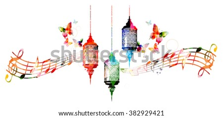 Colorful lamps for Ramadan with music notes - stock vector