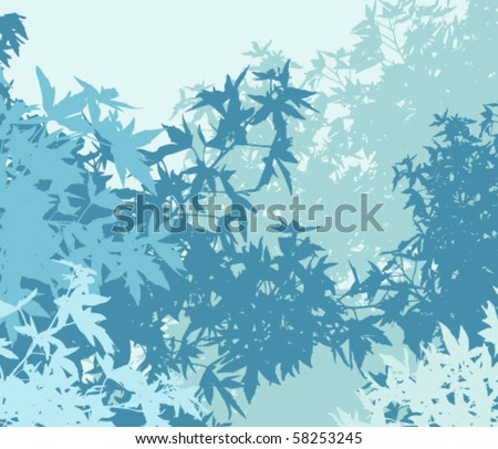 Colorful landscape of foliage in cold mist - Vector illustration - The different graphics are on separate layers so they can easily be moved or edited individually - stock vector