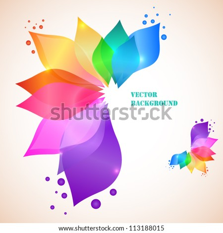 Colorful leafs - abstract background - stock vector