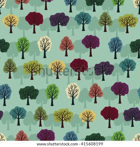 Colorful leafy trees vector background - stock vector