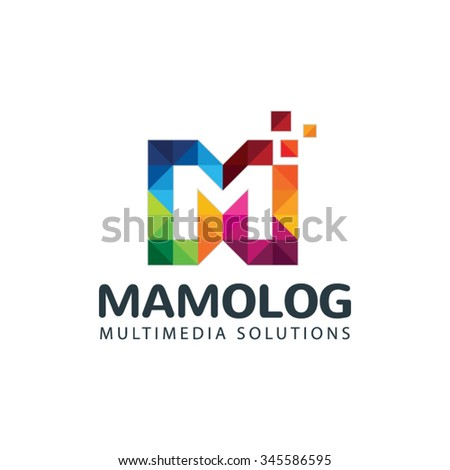 Colorful Letter M Logo - stock vector