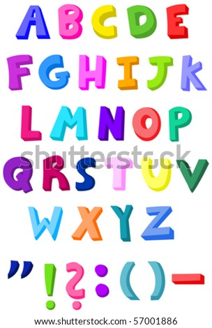 Colorful letters set - stock vector