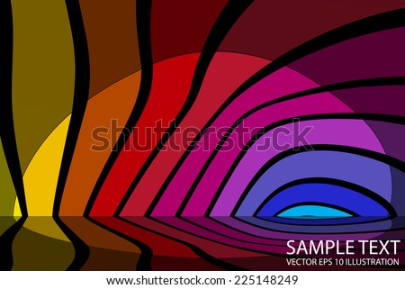 Colorful lighted background reflected illustration - Vector striped rainbow background  template reflected - stock vector