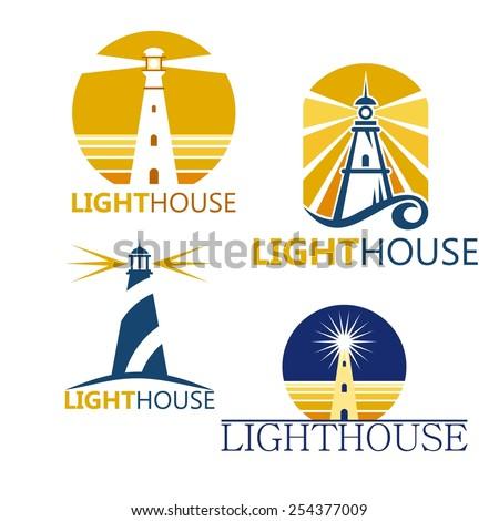 Colorful lighthouse symbols set isolated on white background - stock vector