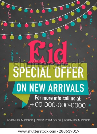 Colorful lights and stars decorated poster, banner or template for Eid Special Offer on new arrivals. - stock vector