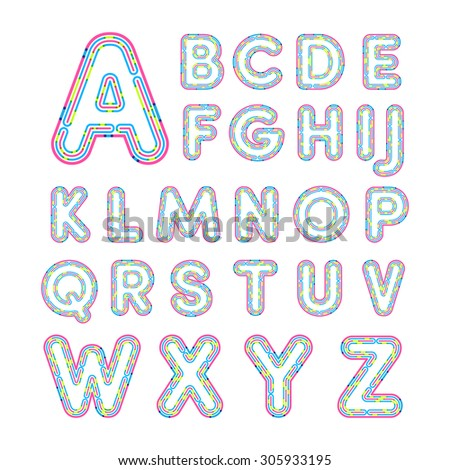 Colorful line font.Capital letter A, B, C, D, E, F, G, H, I, J, K, L, M, N, O, P, Q, R, S, T, U, V, W, X, Y, Z.Vector illustration. - stock vector