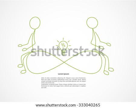 Colorful linear infographic. Infinity concept. Two man sitting on infinity sign. - stock vector