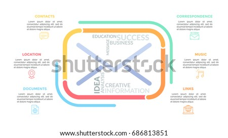 Colorful Lines Forming Envelope Symbol Word Stock Vector 686813851