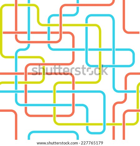 Colorful lines seamless pattern. Tangled vector lines for conceptual schemes