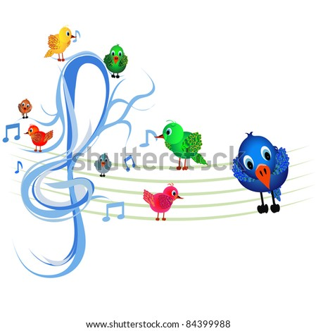 Colorful Little Birds Singing On Wire Stock Vector (2018) 84399988 ...