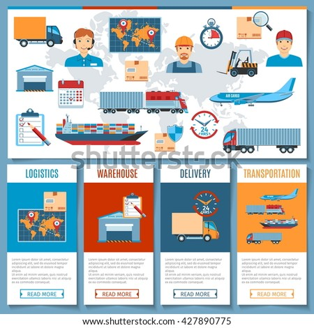 Colorful Logistic And Transportation Concept Set With Flat Icons. Vector Illustration