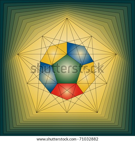 colorful logo in a shape of pentagon and dodecahedron - stock vector