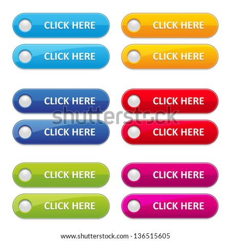 Colorful long round button set - stock vector