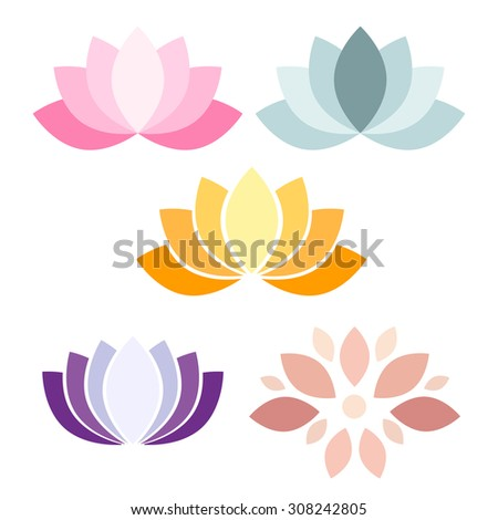Colorful Lotus flower vector icons on white background  - stock vector