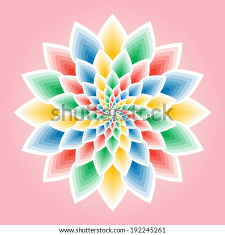 Colorful lotus mandala vector illustration - stock vector