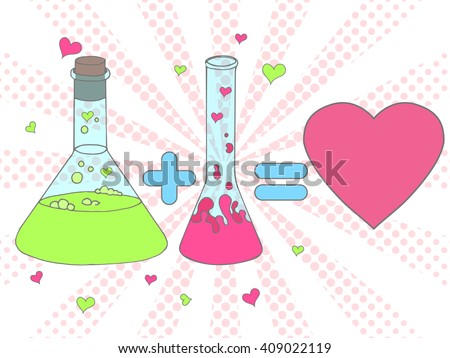 Colorful Love chemistry vector illustration. Chemical tubes in Hand drawn style. Test tube with love fluid. Cartoon Inspirational romantic background. Love formula poster in pop art style - stock vector